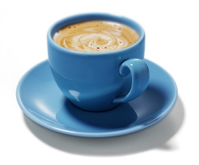 blue cup of coffee
