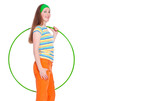 young woman with hula hoop over white