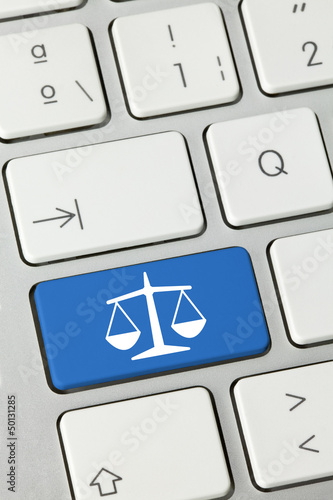 Justice keyboard key finger