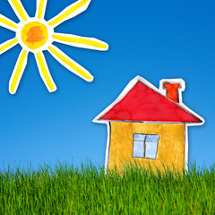 Сollage of  painting of house with green grass  and  blue sky