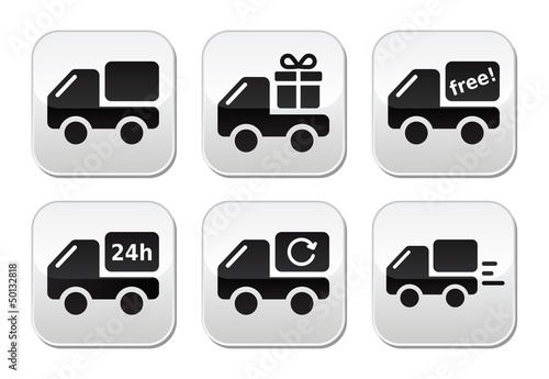 Delivery car, shipping vector buttons set