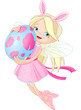Cute Fairy flying with Easter Egg
