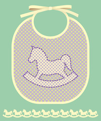 Baby card announcement with bib and horse