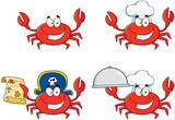 Four Crab Cartoon Character. Collection