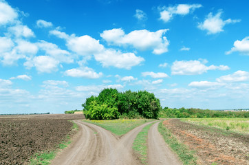 two rural roads to cloudy horizon