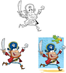 Pirate Running with Sword and Hook.Collection
