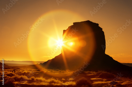 famous sunrise at Monument Valley