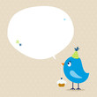 Blue Bird Cupcake Speech Bubble Beige Dots