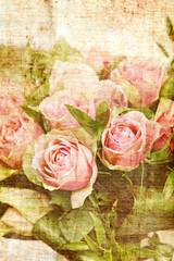 Vintage canvas rose print