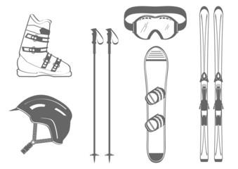 Matériel de ski - gris - montagne