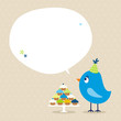 Blue Bird 10 Cupcakes Speech Bubble Beige Dots