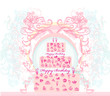 birthday card with cake over vintage background. vector illustra