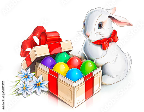 easter rabbit bunny and box with eggs illustration isolated on