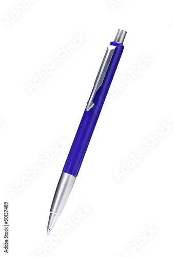 Blue ballpoint pen isolated on white background