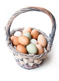 Farm fresh eggs in a basket