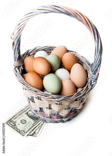 Farm fresh eggs with money