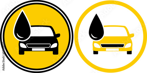 icons with car and fuel oil drop