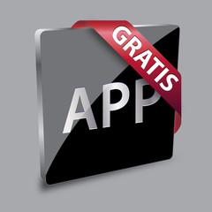 App Button Gratis 3D Schwarz