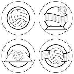 Set of four volleyball emblems