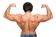 Back image of young muscular guy