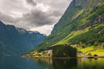 Small village in Naeroyfjord, Norway