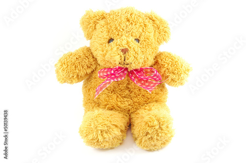 TEDDY BEAR with pink Ribbon on white background