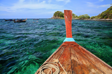 Hull of Wooden boat at diving spot at Koh Lipe