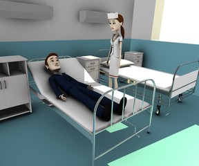 3d render of cartoon character in hospital