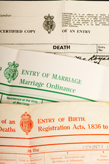 Birth, marriage and death certificates