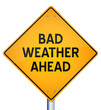 yellow warning sign of bad weather ahead