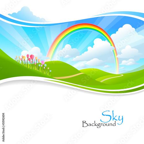 Rainbow , Green hills and Blue Sky