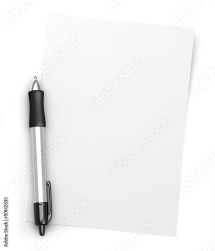 Pen and white paper
