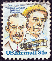 Wright brothers and Wright Flyer I plane (USA 1978)