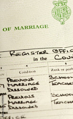 Marriage certificate after previous divorces