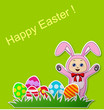 Paper card with Easter eggs and baby with rabbit  costume