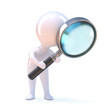 Little man peers through a magnifying glass