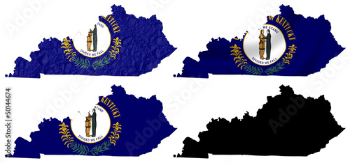 US Kentucky state flag over map collage
