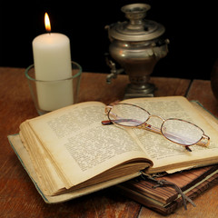 old book on a wooden table
