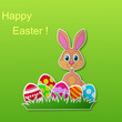 Paper card with rabbit and Easter egg