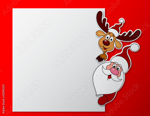 Santa clause and deer with blank sign