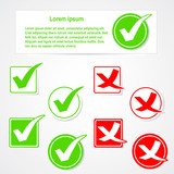 Vector check mark stickers and banner