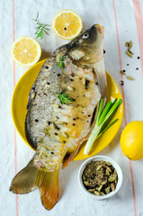 Fresh carp with lemon