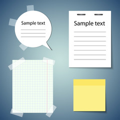 Set of realistic paper stickers for your website