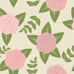 Cute vintage seamless pattern with roses