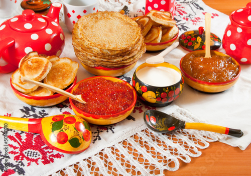Traditional russian pancake