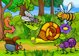 cartoon insects on nature rural scene