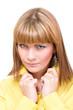 beautiful closeup  woman face and shoulder