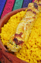 spiced couscous and chicken skewer