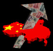 Chinese yuan arrow on map flag illustration