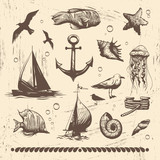 Vintage sea set, vector illustration